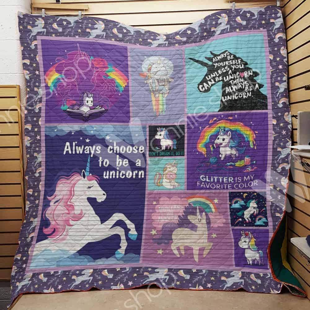 always choose to be a unicorn sttb131 3d customized quilt 0