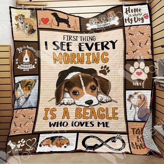 beagle first thing 3d customized quilt 0