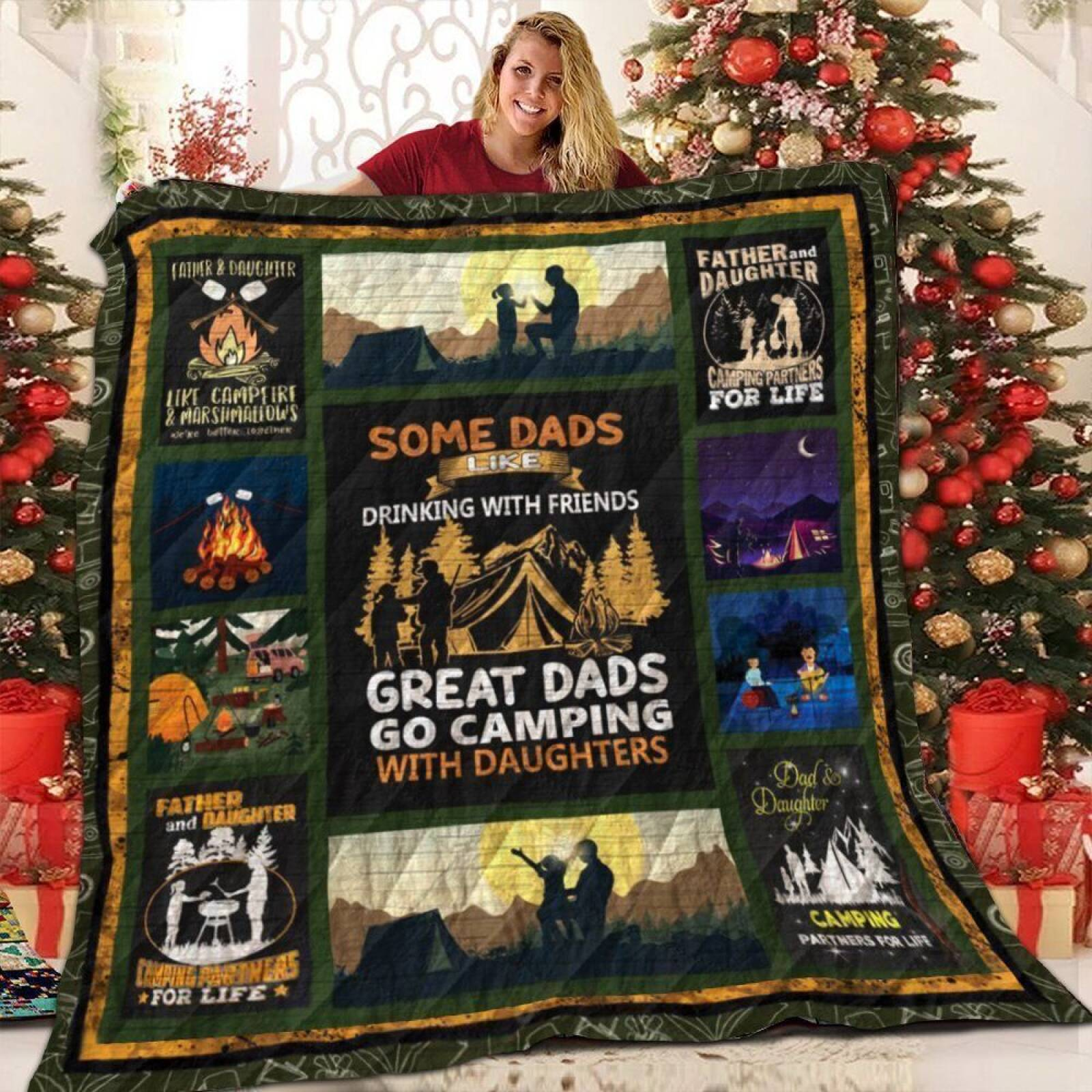 camping dad the tower v1 qe 3d customized quilt 0