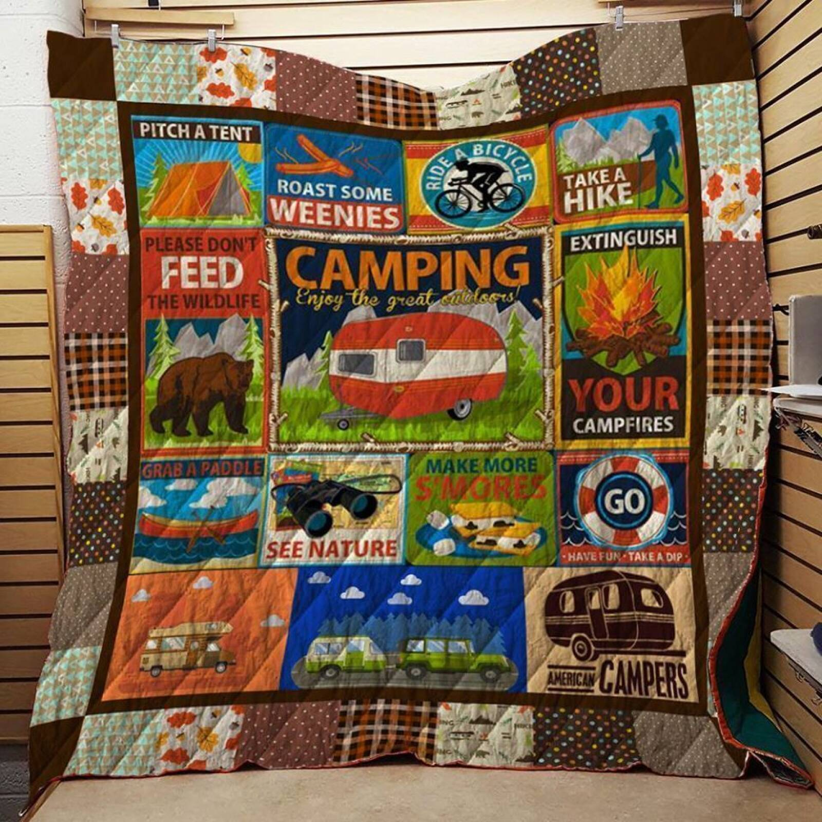 camping dont waste your youth 3d customized quilt 0