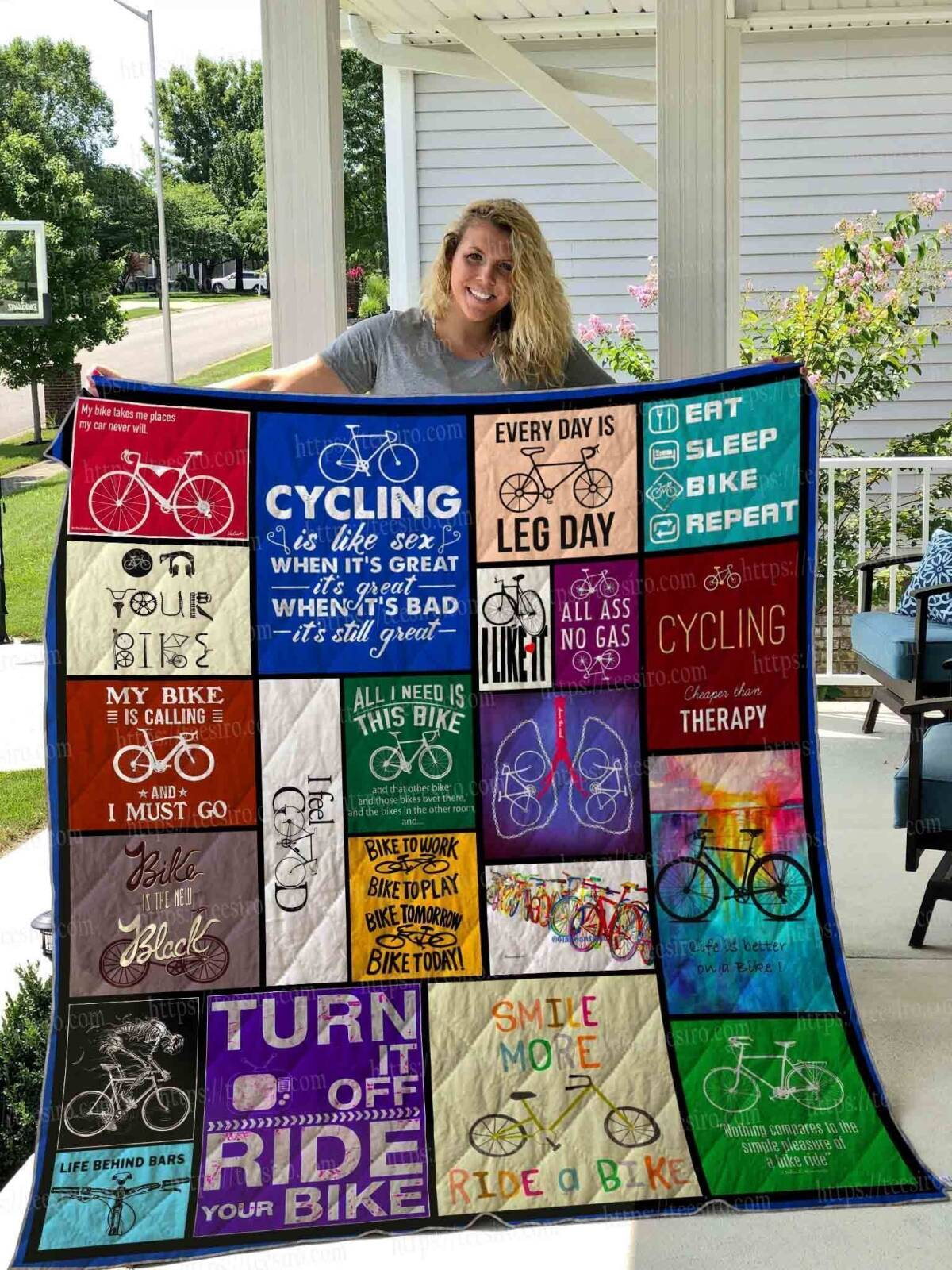 cycling my bike takes me places 3d customized quilt 0