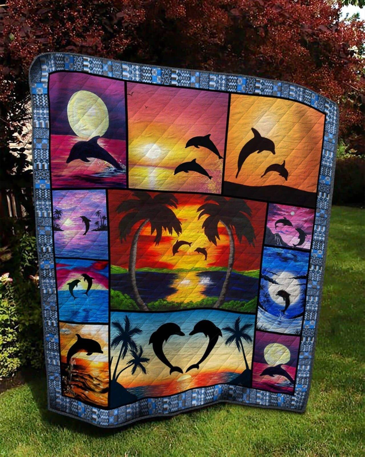 dolphin sunset 3d customized quilt 0