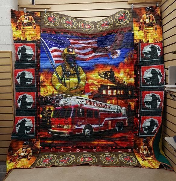 firefighter on my way 3d customized quilt 0