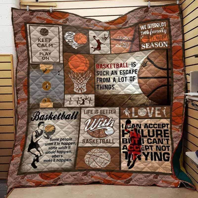 keep calm and play on basketball 3d customized quilt 0