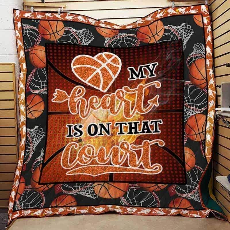 my heart is on that court basketball 3d customized quilt 0