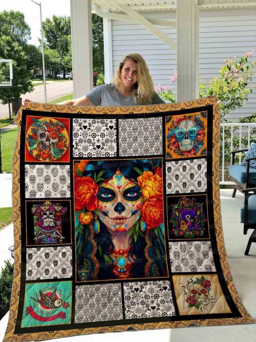 sugar skull love you always 3d customized quilt 0